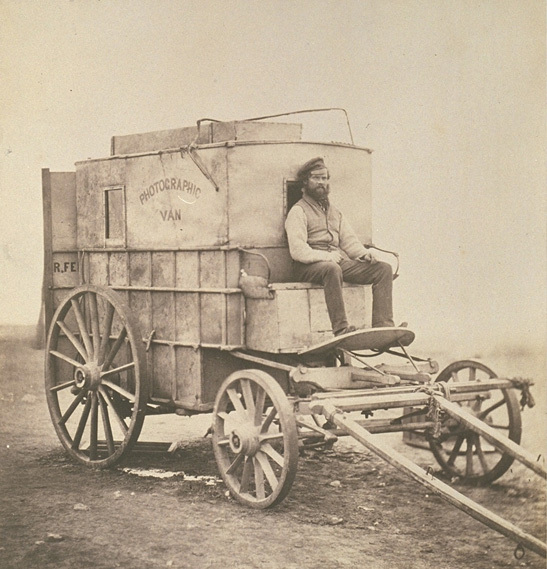 The artist's van. Marcus Sparling, seated on Roger Fenton's photographic van-2