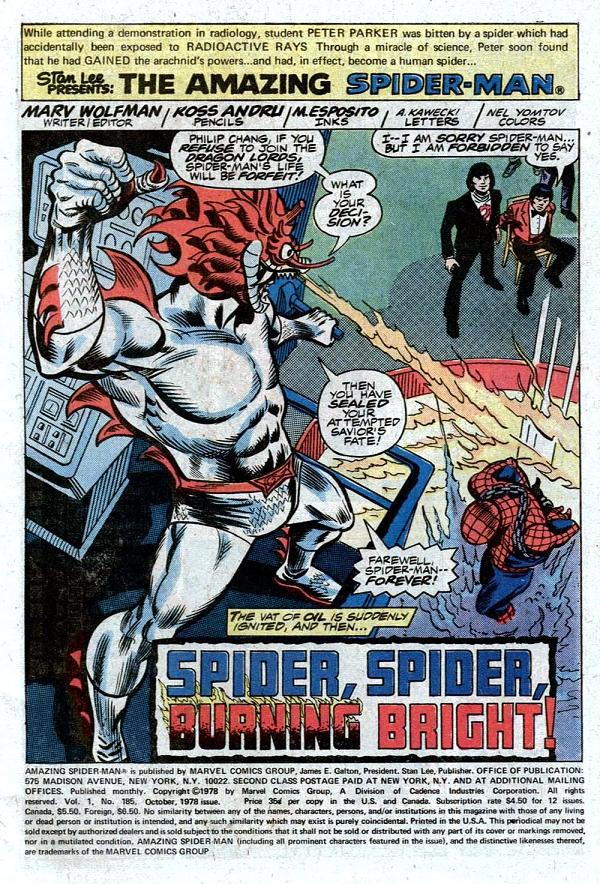 The_Amazing_Spiderman_#185_Wolfman&Andru_(1978)_Cómic