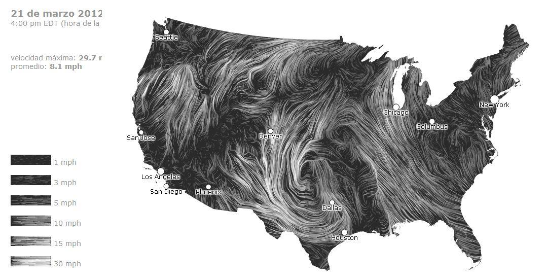Windmap: mapa de los vientos USA