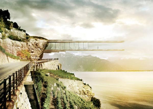 Museo del vino en un acantilado en Lavaux, Suiza / Mauro Turin