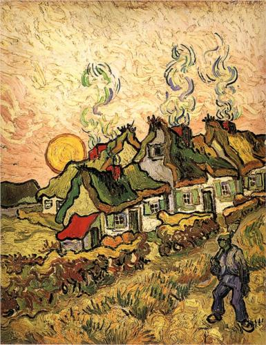 van-gogh-thatched-cottages-in-the-sunshine-reminiscence-of-the-north-1890