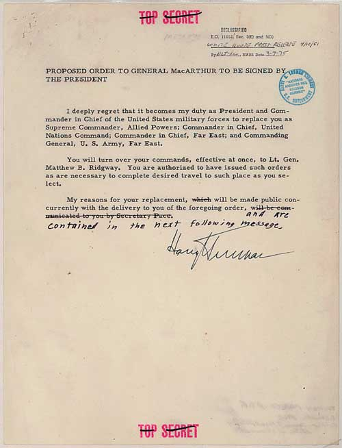 "Carta del presidente Harry S. Truman al general MacArthur: ""Estás despedido"""