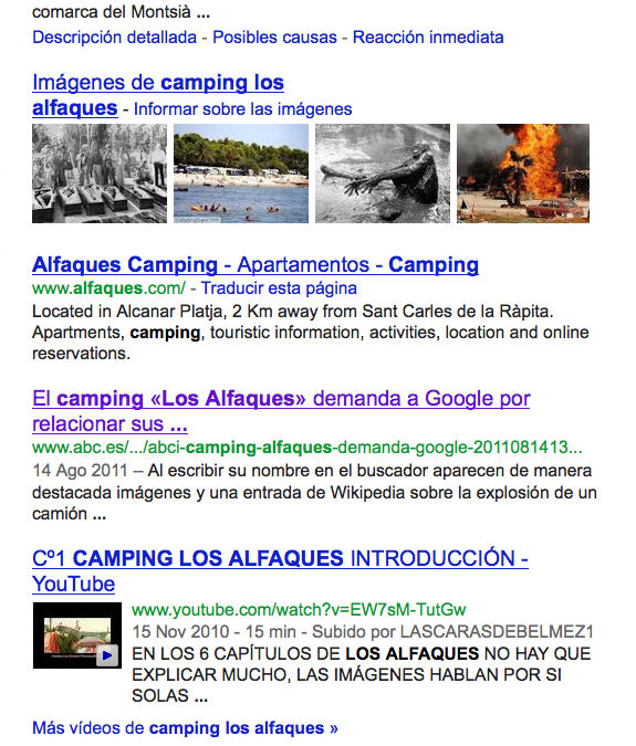 Derecho al honor: el Cámping Los Alfaques demanda a Google