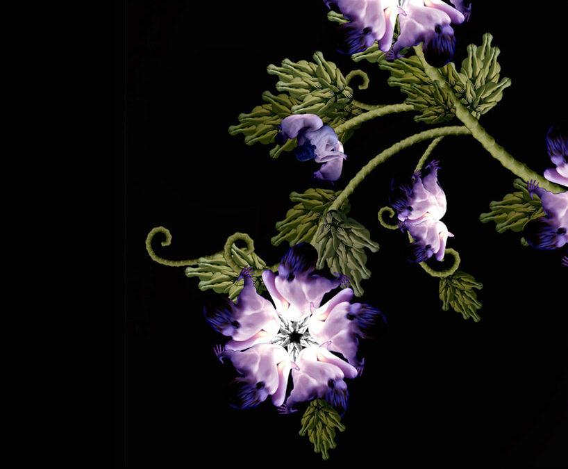 Cecelia Webber: flores y mariposas con desnudos